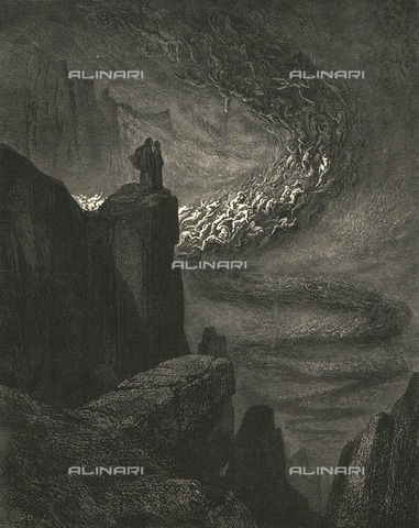 "HIP-S-000270-9306 - ""The stormy blast of hell with restless fury drives the spirits on"": Dante and Virgil see the storm that drags the lustful, Divine Comedy, Inferno - canto V, vv. 31-32. Engraving by Gustave Doré, published by Cassell, Petter and Galpin, c.1890. - Heritage Images /Alinari Archives, Florence, The Print Collector"