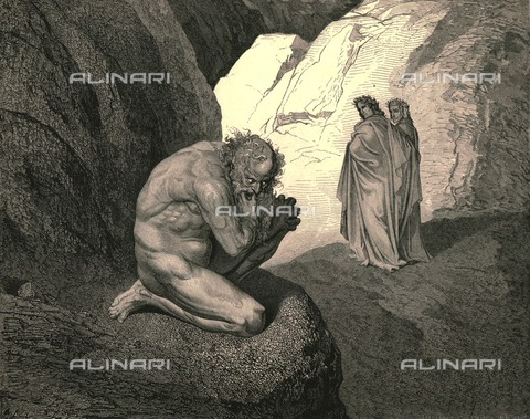 """HIP-S-000270-9313 - """"Curs'd wolf Thy fury inward on thyself prey, and consume thee"""":Virgil and Dante meet Pluto, Divine Comedy, Inferno - canto VII, vv. 8-9. Engraving by Gustave Doré, published by Cassell, Petter and Galpin, c.1890. - The Print Collector / Heritage Images /Alinari Archives, Florence"""