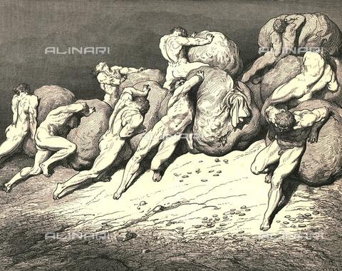 """HIP-S-000270-9314 - """"ché tutto l'oro ch'è sotto la luna e che già fu, di quest'anime stanche non poterebbe farne posare una"""": Virgilio mostra a Dante le anime degli avari e dei prodighi, Divina Commedia, Inferno - canto VII, vv.64-66. Incisione di Gustave Doré, pubblicata da Cassell, Petter e Galpin, 1890 ca. - Heritage Images/Archivi Alinari, Firenze, The Print Collector"""