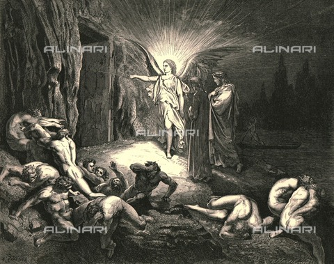 """HIP-S-000270-9316 - """"To the gate he came, and with his wand touch'd it, whereat open without impediment """": an archangel opens the door of Say to Dante and Virgil, Divine Comedy, Inferno - canto IX, vv. 89-90. Engraving by Gustave Doré, published by Cassell, Petter and Galpin, c.1890. - The Print Collector / Heritage Images /Alinari Archives, Florence"""