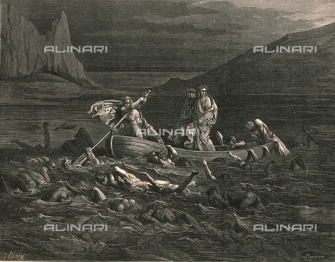 HIP-S-000270-9317 - Flegias ferries Dante and the Roman poet Virgil across the river Styx, where there are souls of angry people, Divine Comedy, Hell. Engraving by Gustave Doré, published by Cassell, Petter and Galpin, c.1890. - The Print Collector / Heritage Images /Alinari Archives, Florence