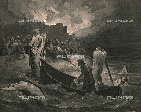 HIP-S-000270-9319 - Dante and Virgil land on the extreme bank of the river Styx, Divine Comedy, Inferno. Engraving by Gustave Doré, published by Cassell, Petter and Galpin, c.1890. - Heritage Images /Alinari Archives, Florence, The Print Collector