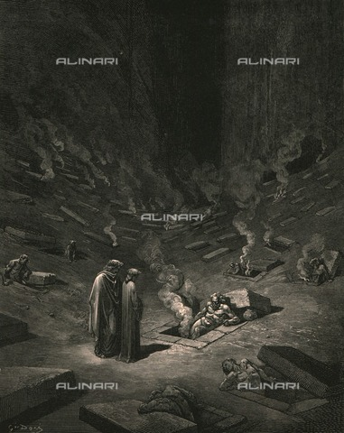 HIP-S-000270-9320 - Dante and Virgil meet the heresiarchs, Divine Comedy, Inferno. Engraving by Gustave Doré, published by Cassell, Petter and Galpin, c.1890. - The Print Collector / Heritage Images /Alinari Archives, Florence