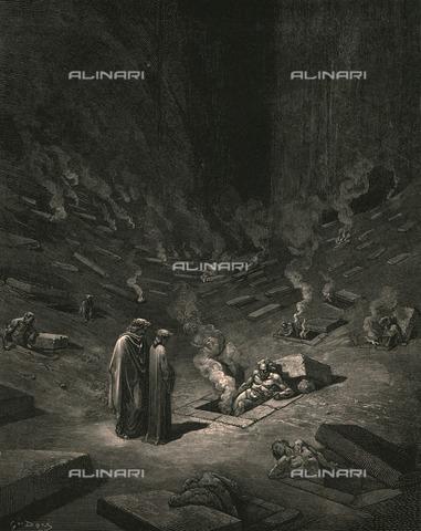 HIP-S-000270-9320 - Dante e Virgilio incontrano gli eresiarchi, Divina Commedia, Inferno. Incisione di Gustave Doré, pubblicata da Cassell, Petter e Galpin, 1890 ca. - Heritage Images/Archivi Alinari, Firenze, The Print Collector