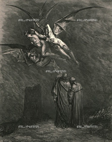 """HIP-S-000270-9321 - """"Mark thou each dire Erynnis """": Dante and Virgil before the Erinyes, Divine Comedy, Inferno - canto IX, v.45. Engraving by Gustave Doré, published by Cassell, Petter and Galpin, c.1890. - The Print Collector / Heritage Images /Alinari Archives, Florence"""