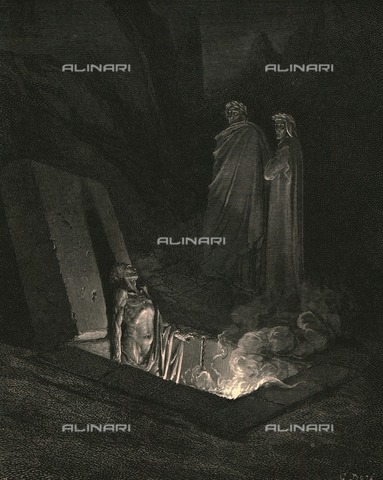 """HIP-S-000270-9322 - """"He, soon as there I stood at He, soon as there I stood at the tomb's foot, ey'd me a space, then in disdainful mood address'd me: Say, what ancestors were thine: Dante and Virgil at the tomb of Farinata degli Uberti, Divine Comedy, Hell - canto XXII, vv. 40-42. Engraving by Gustave Doré, published by Cassell, Petter and Galpin, c.1890. - The Print Collector / Heritage Images /Alinari Archives, Florence"""