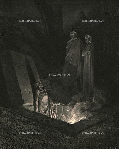 """HIP-S-000270-9322 - """"Com'io al piè de la sua tomba fui, guardommi un poco, e poi, quasi sdegnoso, mi dimandò: Â«Chi fuor li maggior tui?»"""": Dante e Virgilio alla tomba di Farinata degli Uberti, Divina Commedia, Inferno - canto XXII, vv.40-42. Incisione di Gustave Doré, pubblicata da Cassell, Petter e Galpin, 1890 ca. - Heritage Images/Archivi Alinari, Firenze, The Print Collector"""