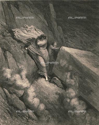 """HIP-S-000270-9323 - """"Ci raccostammo, in dietro, ad un coperchio d'un grand'avello"""": Dante e Virgilio alla tomba di papa Anastasio II, Divina Commedia, Inferno - canto XI, vv.6-7. Incisione di Gustave Doré, pubblicata da Cassell, Petter e Galpin, 1890 ca. - Heritage Images/Archivi Alinari, Firenze, The Print Collector"""