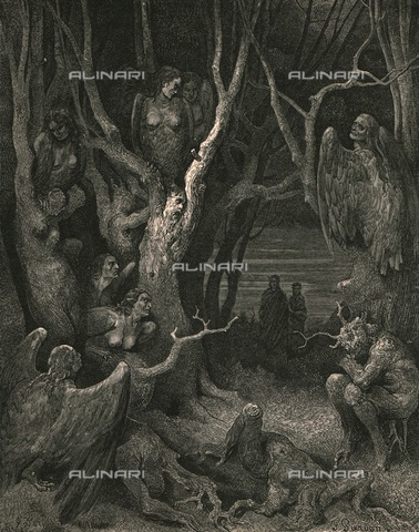 """HIP-S-000270-9324 - """"Here the brute Harpies make their nest"""": Dante and Virgil in the forest of suicides, Divine Comedy, Inferno - canto XIII, v.10. Engraving by Gustave Doré, published by Cassell, Petter and Galpin, c.1890. - The Print Collector / Heritage Images /Alinari Archives, Florence"""