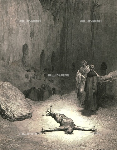 """HIP-S-000270-9345 - """"That pierced spirit, whom intent thou view'st, was he who gave the Pharisees council, that it were fitting for one man to suffer for the people"""": Dante and Virgil meet Caiaphas, Divine Comedy, Inferno - canto XXIII vv.115-117. Engraving by Gustave Doré, published by Cassell, Petter and Galpin, c.1890. - The Print Collector / Heritage Images /Alinari Archives, Florence"""