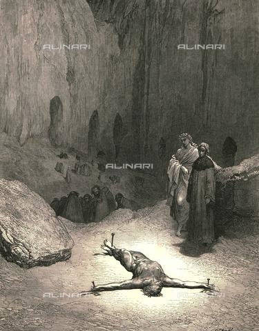 """HIP-S-000270-9345 - """"Quel confitto che tu miri, consigliò i Farisei che convenia porre un uom per lo popolo a' martìri"""" : Dante e Virgilio incontrano Caifa, Divina Commedia, Inferno - canto XXIII vv.115-117. Incisione di Gustave Doré, pubblicata da Cassell, Petter e Galpin, 1890 ca. - Heritage Images/Archivi Alinari, Firenze, The Print Collector"""