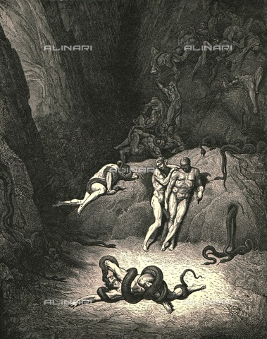 """HIP-S-000270-9346 - """"The other two look'd on, exclaiming, quot;Ah How dost thou change, Agnello"""": the metamorphosis of Agnello Brunneleschi, Divina Commedia, Inferno - canto XXV vv.67-68. Engraving by Gustave Doré, published by Cassell, Petter and Galpin, c.1890 - Heritage Images /Alinari Archives, Florence, The Print Collector"""