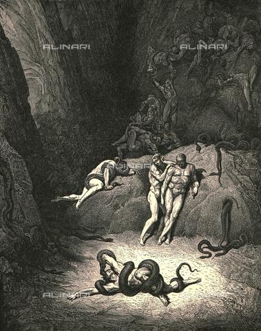 """HIP-S-000270-9346 - """"Li altri due 'l riguardavano, e ciascuno gridava: Omè, Agnel, come ti muti! """" : la metamorfosi di Agnello Brunneleschi, Divina Commedia, Inferno - canto XXV vv.67-68. Incisione di Gustave Doré, pubblicata da Cassell, Petter e Galpin, 1890 ca. - Heritage Images/Archivi Alinari, Firenze, The Print Collector"""