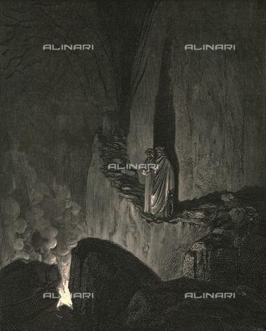 """HIP-S-000270-9347 - """" 'l duca che mi vide tanto atteso, disse: """"Dentro dai fuochi son li spirti; catun si fascia di quel ch'elli è inceso"""" : Dante e Virgilio nella bolgia dei consiglieri fraudolenti, Divina Commedia, Inferno - canto XXVI vv.46-48. Incisione di Gustave Doré, pubblicata da Cassell, Petter e Galpin, 1890 ca. - Heritage Images/Archivi Alinari, Firenze, The Print Collector"""