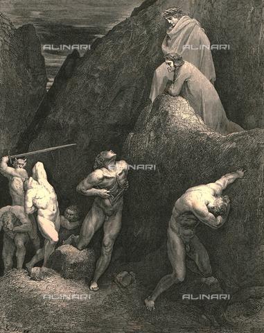 """HIP-S-000270-9348 - """"Or vedi com'io mi dilacco!  Vedi come storpiato è Maometto! """" : Dante e Virgilio incontrano Alì e Maometto, Divina Commedia, Inferno - canto XXVIII vv.30-31. Incisione di Gustave Doré, pubblicata da Cassell, Petter e Galpin, 1890 ca. - Heritage Images/Archivi Alinari, Firenze, The Print Collector"""