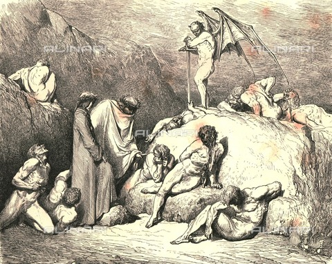 """HIP-S-000270-9349 - """"Call thou to mind Piero of Medicina, if again returning"""": Dante meets the panther (lonza), Divine Comedy, Inferno - canto XXVIII vv.73-74. Engraving by Gustave Doré, published by Cassell, Petter and Galpin, c.1890 - The Print Collector / Heritage Images /Alinari Archives, Florence"""