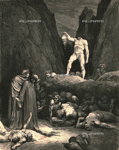 """HIP-S-000270-9537 - """" 'l capo tronco tenea per le chiome, pesol con mano a guisa di lanterna"""" :Bertram del Bornio before Dante and Virgil, Divine Comedy, Inferno - canto XXVIII, vv. 122-123. Engraving by Gustave Doré, published by Cassell, Petter and Galpin, ca.1890 - Heritage Images /Alinari Archives, Florence, The Print Collector"""