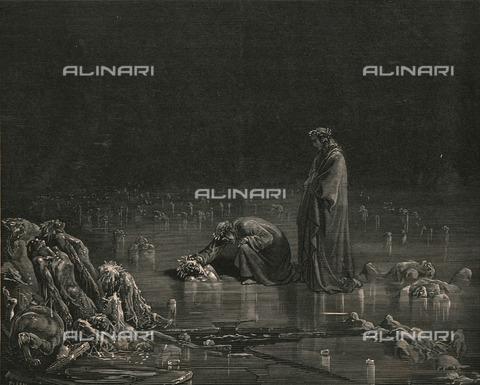 """HIP-S-000270-9540 - """"Allor lo presi per la cuticagna, e dissi: El converrà che tu ti nomi, o che capel qui sù non ti rimagna"""" :Dante, accompagnato da Virgilio, chiede a Bocca degli Abati il suo nome, Divina Commedia, Inferno - canto XXXII, vv. 97-99. Incisione di Gustave Doré, pubblicata da Cassell, Petter e Galpin, 1890 ca. - Heritage Images /Alinari Archives, Florence, The Print Collector"""