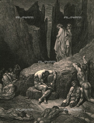 "HIP-S-000270-9550 - ""Che pur guate? Perché la vista tua pur si soffolge là giù tra l'ombre triste smozzicate?"" :Virgil asks Dante, Divine Comedy, Inferno - canto XXIX, vv. 4-6. Engraving by Gustave Doré, published by Cassell, Petter and Galpin, c.1890. - Heritage Images /Alinari Archives, Florence, The Print Collector"