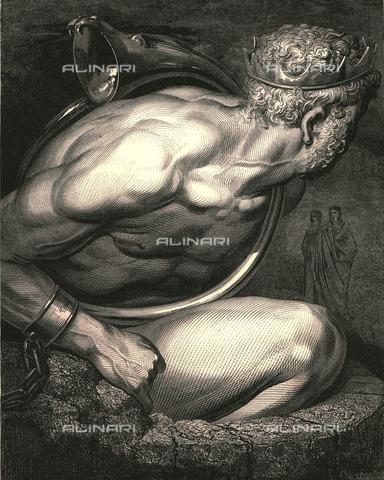 """HIP-S-000270-9552 - """"Anima sciocca, tienti col corno, e con quel ti disfoga quand'ira o altra passion ti tocca! """": Virgilio, accompagnando Dante, risponde a Nembrod a Dante, Divina Commedia, Inferno - canto XXXI, vv.70-72. Incisione di Gustave Doré, pubblicata da Cassell, Petter e Galpin, 1890 ca. - Heritage Images/Archivi Alinari, Firenze, The Print Collector"""