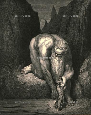 """HIP-S-000270-9591 - """"Ma lievemente al fondo che divora Lucifero con Giuda, ci posò"""": il gigante Anteo fa scendere Dante e Virgilio , Divina Commedia, Inferno - canto XXXI, v.142-143. Incisione di Gustave Doré, pubblicata da Cassell, Petter e Galpin, 1890 ca. - Heritage Images/Archivi Alinari, Firenze, The Print Collector"""