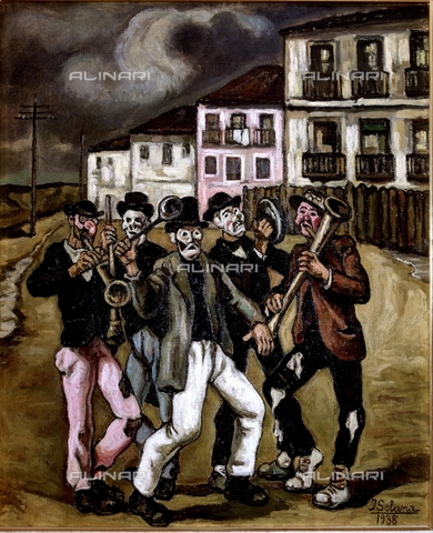 IFA-S-AAA005-7752 - Masks in the street, oil on canvas, Solana, José Gutierrez (1885-1945), Private Collection - Index/Alinari Archives, Florence