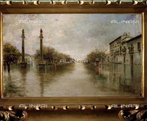 IFA-S-AAA005-7832 - Inondazione nel viale Hercules a Siviglia, olio su tela, Garcia Rodriguez Manuel (1863-1925), Collezione Privata - Index/Archivi Alinari, Firenze