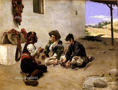 IFA-S-AAA005-7833 - Ladri che giocano a carte con un mulattiere, olio su tela, Fernando Tirado (1862-1907), Collezione Privata - Index/Archivi Alinari, Firenze