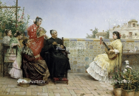 IFA-S-AAA005-7834 - Visit of the parish priest, oil on canvas, Rico Cejudo José (1864-1939), Private collection - Index/Alinari Archives, Florence