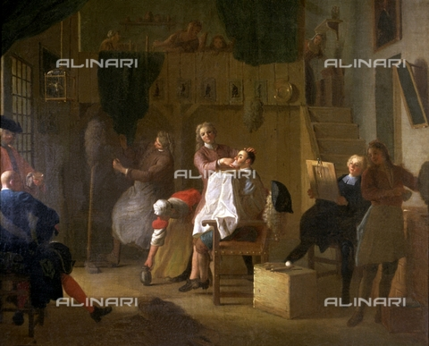 IFA-S-AAA005-8517 - In the barber shop, oil on canvas, Houasse, Miguel Angel (1680-1730), Prado Museum, Madrid - Index/Alinari Archives, Florence