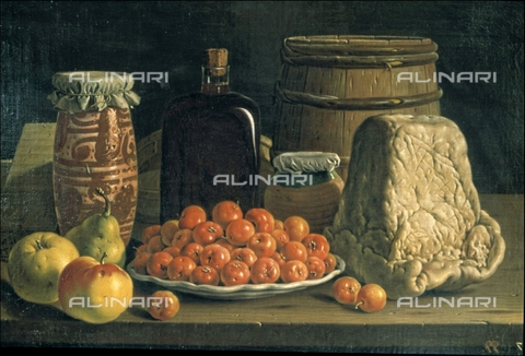 IFA-S-AAA005-8518 - Still life with a bowl of cherries and cheese, oil on canvas, Luis Egidio Meléndez or Menendez (1716-1780), Prado Museum, Madrid - Index/Alinari Archives, Florence