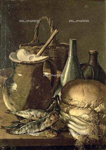 IFA-S-AAA005-8519 - Natura morta con pesce, porri e pane, olio su tela, Luis Egidio Meléndez o Menendez (1716–1780), Museo del Prado, Madrid - Index/Archivi Alinari, Firenze