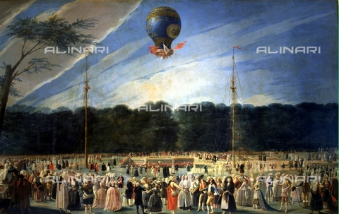 IFA-S-AAA005-8532 - The Ascent in the Sky of a Hot Air Balloon in Aranjuez, oil on canvas, Antonio Carnicero (1748-1814), Prado Museum, Madrid - Index/Alinari Archives, Florence