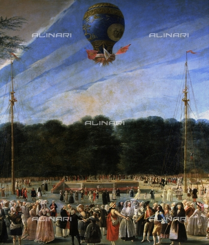 IFA-S-AAA005-8533 - The Ascent in the Sky of a Hot Air Balloon in Aranjuez, detail, oil on canvas, Antonio Carnicero (1748-1814), Prado Museum, Madrid - Index/Alinari Archives, Florence