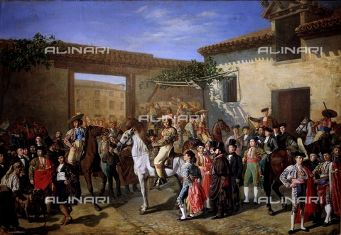 IFA-S-AAA005-8587 - The courtyard with the knights located in the ancient Piazza dei Tori in Madrid before the bullfight, Manuel Castellano (1828-1880), Prado Museum, Madrid - Index/Alinari Archives, Florence