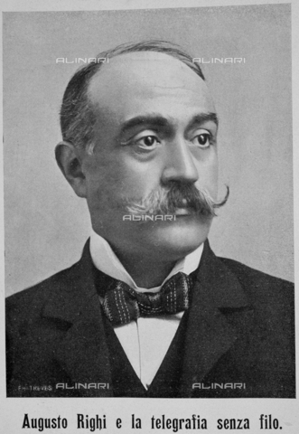 """IIB-S-009039-170A - Portrait of  Augusto Righi (1850-1920), italian politician and physical, photography by Treves taken from the magazine """"L'Illustration Italian"""" of 1 march 1903, page 170 - Date of photography: 1903 - Library of Fratelli Alinari Museum of the History of Photography, Florence"""