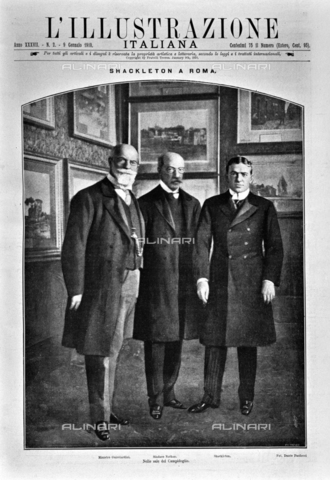 """IIB-S-091002-0025 - Ernest Shackleton (1874-1922) received by Minister of Foreign Affairs Francesco Guicciardini (1851-1915) and Mayor of Rome Ernesto Nathan (1845-1921) in Campidoglio on 2 January 1910. Photography taken from the magazine """"Italian Illustration"""" of 9 January 1910, no. 2 - Date of photography: 02/01/1910 - Library of Fratelli Alinari Museum of the History of Photography, Florence"""