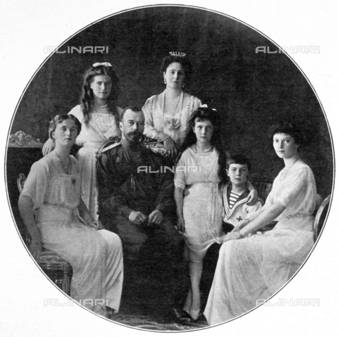 IIB-S-091712-0235 - Portrait of Tsar Nicholas II and his family. The Russian Emperor, seated at the center of the photo, is surrounded by the Tsarina Alexandra Fà«dorovna, by Prince Alexi, heir to the throne, and by the young Grand Duchesses Anatasia, Olga, Maria and Tatiana - Date of photography: 1916 ca. - Library of Fratelli Alinari Museum of the History of Photography, Florence