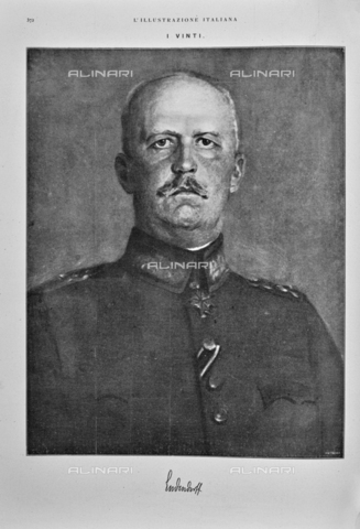 """IIB-S-091844-0372 - Portrait of German General Erich Ludendorff (1865-1937). Drawing. Photography taken from the magazine """"The Italian Illustration"""" of November 3, 1918, n. 44, page 372 - Library of Fratelli Alinari Museum of the History of Photography, Florence"""