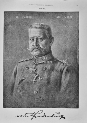 """IIB-S-091844-0373 - Portrait of General Paul von Hindenburg (1847-1934) Supreme Command of the German Army on the Eastern Front. Drawing. Photography taken from the magazine """"The Italian Illustration"""" of November 3, 1918, n. 44, page 373 - Library of Fratelli Alinari Museum of the History of Photography, Florence"""