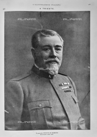 """IIB-S-091845-0415 - Portrait of General Carlo Petitti of Roreto, Governor of Trieste and Venice Giulia, from November 2, 1918 to July 1919. Photography taken from the magazine """"The Italian Illustration"""" of November 10, 1918, no. 45, page 415 - Date of photography: 02-09/11/1918 - Library of Fratelli Alinari Museum of the History of Photography, Florence"""