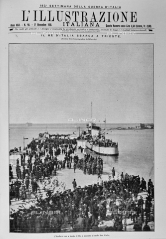 """IIB-S-091846-0433 - The shipwrecked Audace ship, with King Vittorio Emanuele III on board, accompanied by Armando Diaz and Pietro Badoglio, joined the San Carlo Trieste jetty, which was renamed Audace for the occasion. Photography taken from the magazine """"L' Illustrazione italiana"""" of November 17, 1918, no. 46, page 433 - Date of photography: 10/11/1918 - Library of Fratelli Alinari Museum of the History of Photography, Florence"""