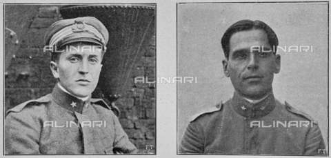 """IIB-S-091846-456B - First World War: lieutenant physician Raffaele Paolucci and Lieutenant Colonel of Naval Genius Raffaele Rossetti, protagonists of the Polish company on November 1, 1918, culminated in the sinking of the Austrian armor Viribus Unitis. Photography taken from the magazine """"L' Illustrazione italiana"""" of November 17, 1918, no. 46, page 456B - Date of photography: 01-16/11/1918 - Library of Fratelli Alinari Museum of the History of Photography, Florence"""