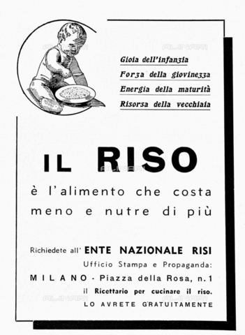 """IIB-S-093527-038A - Advertising of rice. Photograph taken from the magazine """"L 'Illustrazione italiana"""" of 7 July 1935, n. 27, page 38 - Date of photography: 1935 - Library of Fratelli Alinari Museum of the History of Photography, Florence"""