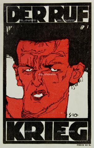"""IMA-F-120348-0000 - Volto maschile, manifesto """"Der Rue Krieg"""", stampa di Egon Schiele conservata in una collezione privata - Imagno/Archivi Alinari"""