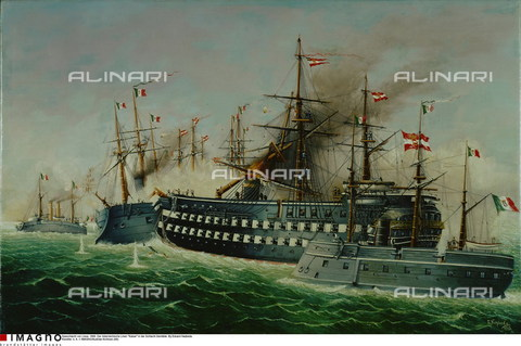 IMA-F-176355-0000 - The naval battle of Lissa 1866: the Austrian transatlantic Kaiser collides with the Italian armored cruiser King of Portugal, oil on canvas, Eduard Nezbeda, Private collection - Austrian Archives (AA) / Imagno/Alinari Archives