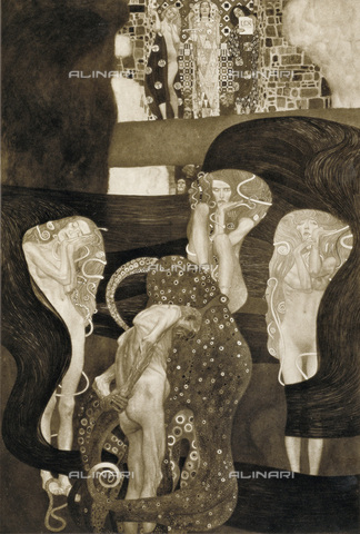 IMA-F-621193-0000 - Law, oil on canvas, Gustav Klimt (1862-1918), panel to the University of Vienna destroyed during a fire at Immendorf Castle in 1945 - Austrian Archives / Imagno/Alinari Archives