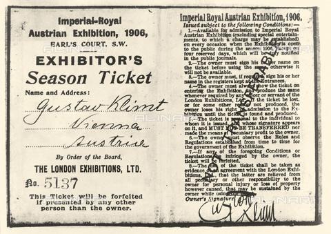 IMA-F-621207-0000 - Entrance fee artist Gustav Klimt for the Royal Austrian Exhibition in London in 1906 - Austrian Archives / Imagno/Alinari Archives