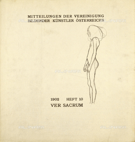 IMA-F-621209-0000 - Female nude, illustration for Ver Sacrum, number 10, volume 5, 1902, lithograph, Gustav Klimt (1862-1918) - Austrian Archives / Imagno/Alinari Archives