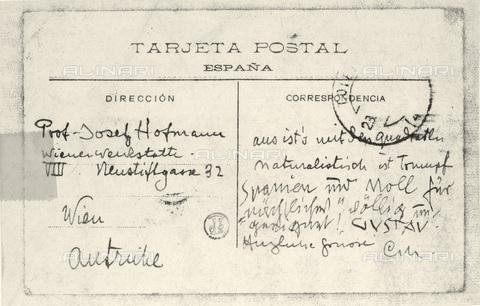 IMA-F-621211-0000 - Postcard written by Carl Moll and Gustav Klimt (1862-1918) Josef Hoffmann. Asked by Toledo in 1909 - Austrian Archives / Imagno/Alinari Archives